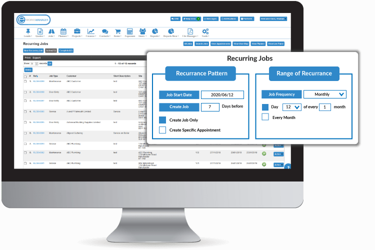 Set up your recurring work based on your service level agreements - Property Maintenance Software
