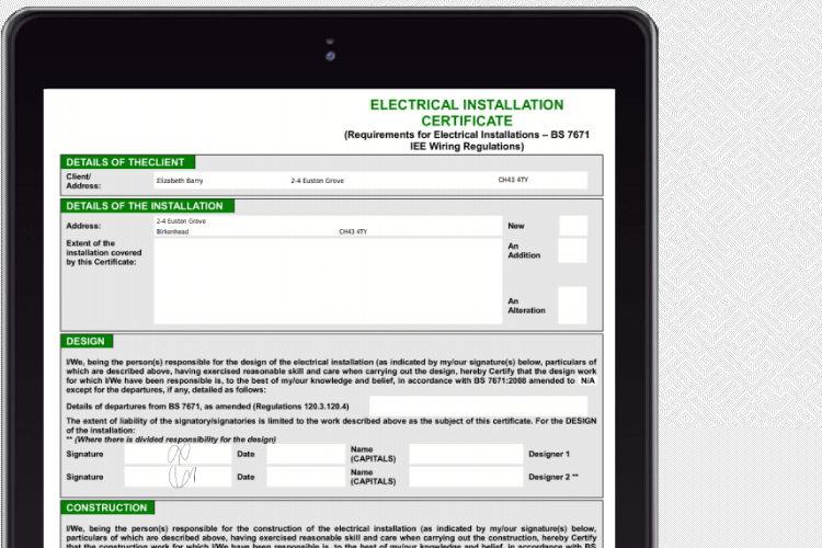 Complete your electrical certificates online with Eworks Manager's electrical engineering software