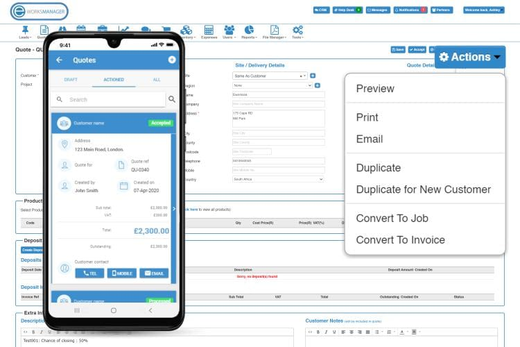 Online Quoting Software - Print or Email quotes directly to clients